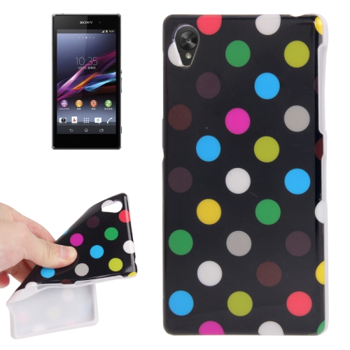Black and Colorful Dot Pattern TPU Protective Case for Sony Xperia Z1 / L39h / Honami / C6902 / C6903 / C6906 / Xperia i1