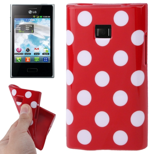 Buy Red and White Dot Pattern TPU Case for LG Optimus L3 / E400 for $1.27 in SUNSKY store
