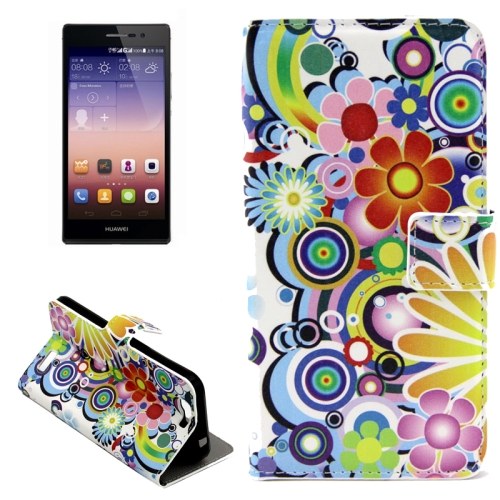 Buy Colorful Daisy Flower Pattern Horizontal Flip Leather Case with Holder & Card Slots for Huawei Ascend G7 for $2.43 in SUNSKY store