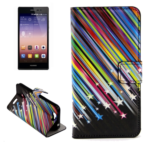 Buy Colorful Meteor Shower Pattern Horizontal Flip Leather Case with Holder & Card Slots for Huawei Ascend G7 for $2.43 in SUNSKY store
