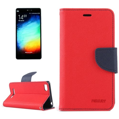 For Xiaomi Mi 4c / 4i Cross Texture Horizontal Flip Leather Case with Holder & Card Slots & Wallet (Red + Dark Blue)