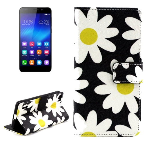 Buy Daisy Pattern Horizontal Flip Leather Case with Holder & Card Slots & Wallet for Huawei Honor 6 for $2.08 in SUNSKY store