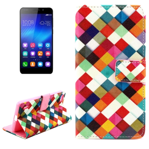 Buy Colorful Grid Pattern Horizontal Flip Leather Case with Holder & Card Slots & Wallet for Huawei Honor 6 for $2.08 in SUNSKY store