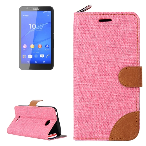 Buy Denim Texture Leather Case with Card Slots & Holder & Lanyard for Sony Xperia E4, Pink for $2.48 in SUNSKY store