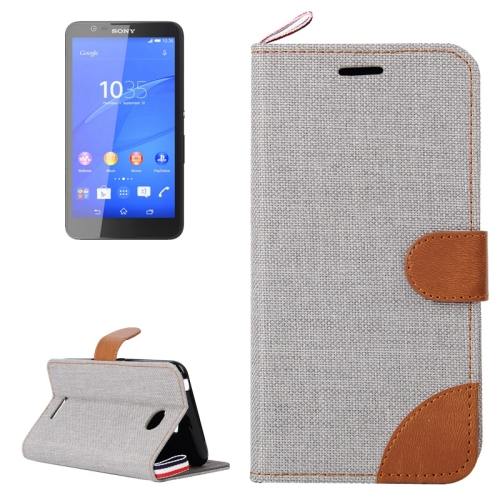Buy Denim Texture Leather Case with Card Slots & Holder & Lanyard for Sony Xperia E4, Grey for $2.48 in SUNSKY store
