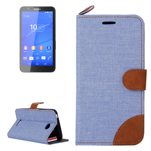 Buy Denim Texture Leather Case with Card Slots & Holder & Lanyard for Sony Xperia E4, Blue for $2.48 in SUNSKY store