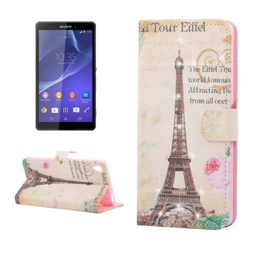 Buy Eiffel Tower Pattern Horizontal Flip Diamond Encrusted Leather Case with Holder & Card Slot & Wallet for Sony Xperia Z3 for $2.53 in SUNSKY store
