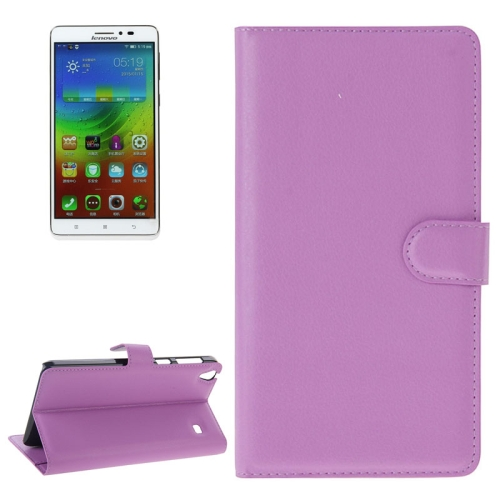 Buy Litchi Texture Flip Leather Case with Holder & Card Slots & Wallet for Lenovo Note 8 / A936, Purple for $2.27 in SUNSKY store