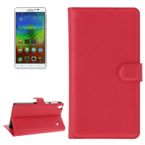 Buy Litchi Texture Flip Leather Case with Holder & Card Slots & Wallet for Lenovo Note 8 / A936, Red for $2.27 in SUNSKY store