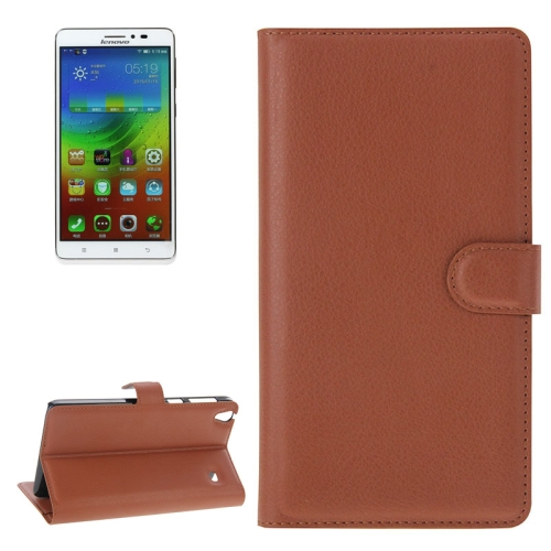 Litchi Texture Flip Leather Case with Holder & Card Slots & Wallet for Lenovo Note 8 / A936, Brown