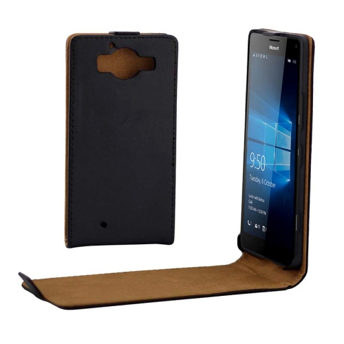 Buy Khaki Lining Vertical Flip Magnetic Buckle PU Leather Case for Microsoft Lumia 950, Black for $2.31 in SUNSKY store