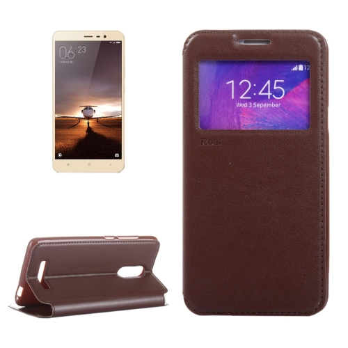 Buy Crazy Horse Texture Horizontal Flip Leather Case with Call Display ID & Holder & Card Slots for Xiaomi Redmi Note 3, Brown for $3.92 in SUNSKY store