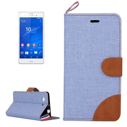 Buy Denim Texture Horizontal Flip Leather Case with Card Slots & Holder & Lanyard for Sony Xperia Z3 Compact / Z3 mini (Baby Blue) for $2.48 in SUNSKY store