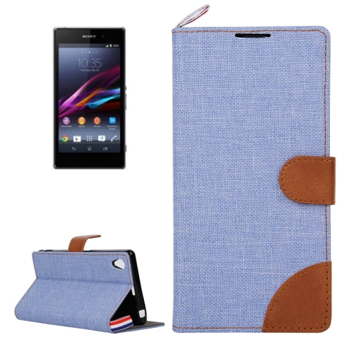 Buy Denim Texture Horizontal Flip Leather Case with Card Slots & Holder & Lanyard for Sony Xperia Z1 / L39H (Baby Blue) for $2.48 in SUNSKY store