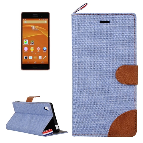 Buy Denim Texture Horizontal Flip Leather Case with Card Slots & Holder & Lanyard for Sony Xperia Z3 (Baby Blue) for $2.48 in SUNSKY store