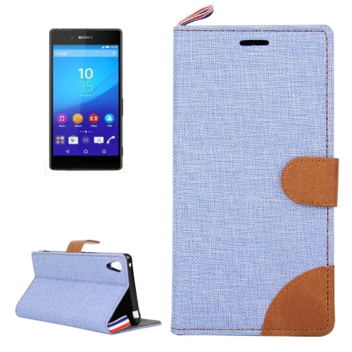 Buy Denim Texture Horizontal Flip Leather Case with Card Slots & Holder & Lanyard for Sony Xperia Z3+ (Baby Blue) for $2.48 in SUNSKY store