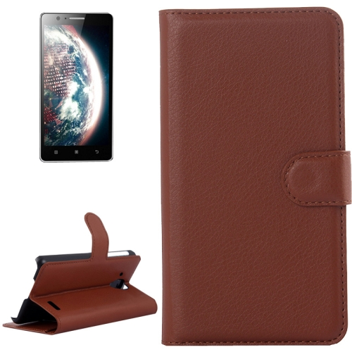 Buy Litchi Texture Flip Leather Case with Holder & Card Slots & Wallet for Lenovo A536, Brown for $2.28 in SUNSKY store