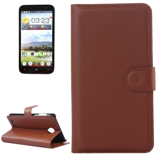 Buy Litchi Texture Flip Leather Case with Holder & Card Slots & Wallet for Lenovo A850, Brown for $2.28 in SUNSKY store