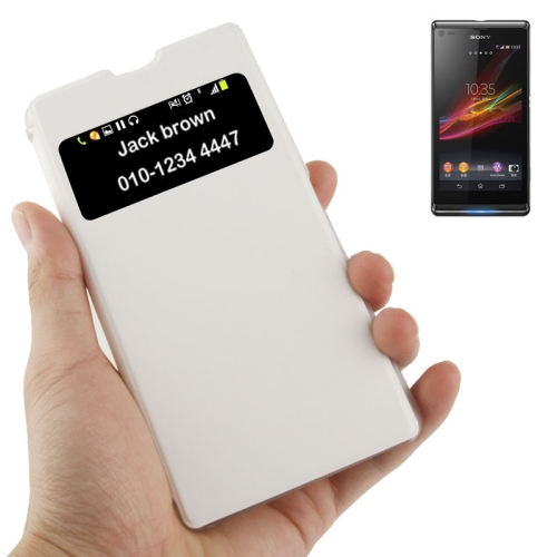 Buy Flip Leather Cover Transparent Frosted Plastic Case with Call Display ID for Sony Xperia Z1 / L39h / Honami / C6902 / Xperia i1, White for $2.29 in SUNSKY store