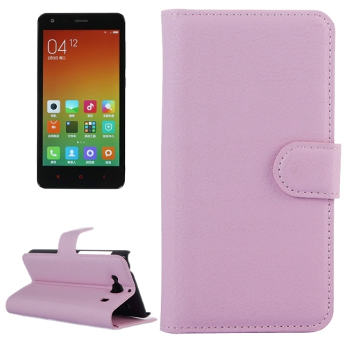 Buy Litchi Texture Horizontal Flip Leather Case with Card Slots & Holder & Wallet for Xiaomi Redmi 2, Pink for $2.27 in SUNSKY store