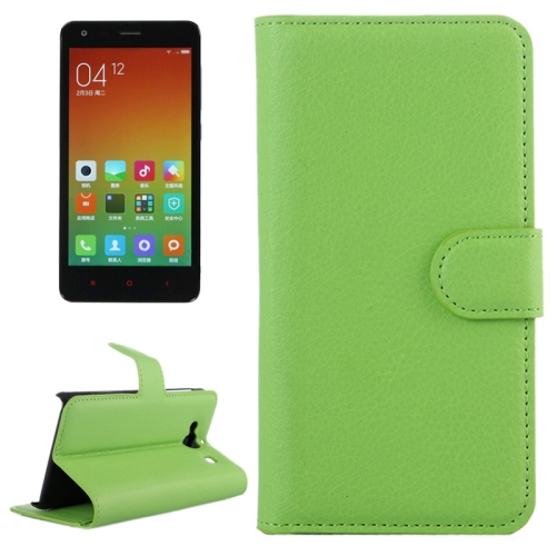 Buy Litchi Texture Horizontal Flip Leather Case with Card Slots & Holder & Wallet for Xiaomi Redmi 2, Green for $2.27 in SUNSKY store
