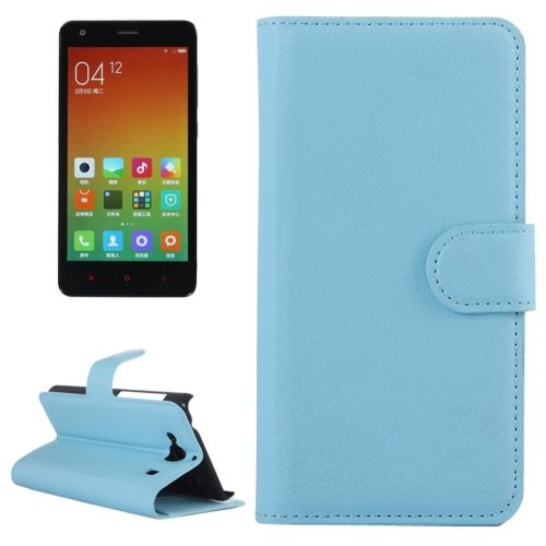 Buy Litchi Texture Horizontal Flip Leather Case with Card Slots & Holder & Wallet for Xiaomi Redmi 2, Blue for $2.27 in SUNSKY store