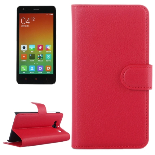Buy Litchi Texture Horizontal Flip Leather Case with Card Slots & Holder & Wallet for Xiaomi Redmi 2, Red for $2.27 in SUNSKY store