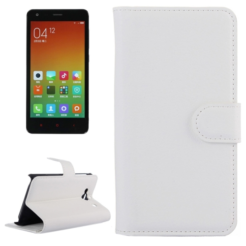 Buy Litchi Texture Horizontal Flip Leather Case with Card Slots & Holder & Wallet for Xiaomi Redmi 2, White for $2.27 in SUNSKY store
