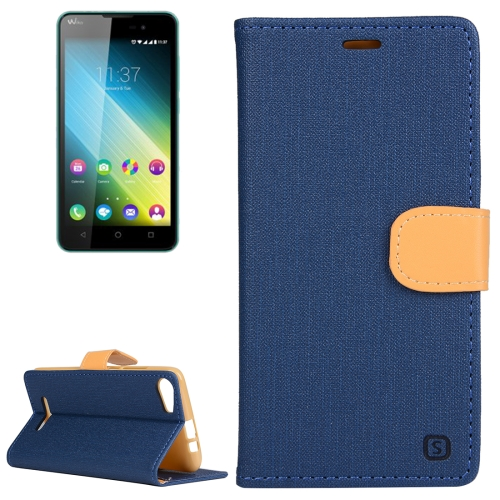 Buy Cloth Texture Horizontal Flip Leather Case with Holder & Card Slots & Wallet for Wiko Lenny 2 (Dark Blue) for $2.43 in SUNSKY store