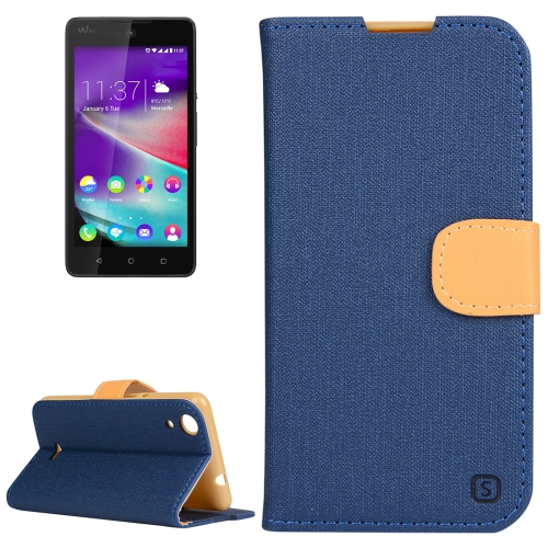Buy Cloth Texture Horizontal Flip Leather Case with Holder & Card Slots & Wallet for Wiko Rainbow Lite (Dark Blue) for $2.55 in SUNSKY store