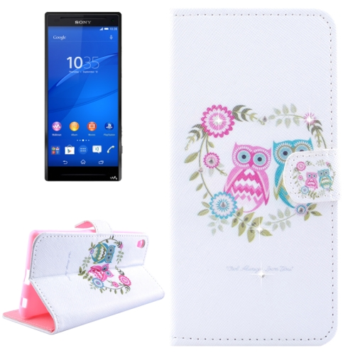 Buy Owl Couples Pattern Horizontal Flip Diamond Encrusted Leather Case with Holder & Wallet & Card Slots for Sony Xperia Z4 for $2.47 in SUNSKY store