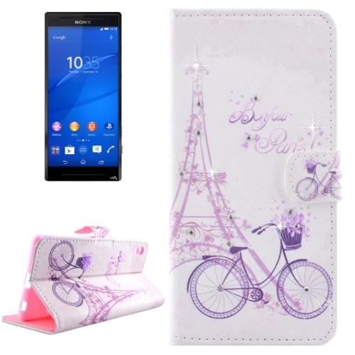 Buy Bicycle Pattern Horizontal Flip Diamond Encrusted Leather Case with Holder & Wallet & Card Slots for Sony Xperia Z4 for $2.47 in SUNSKY store