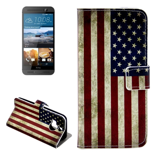 Buy For HTC One M9+ Retro US Flag Pattern Leather Case with Holder & Card Slots & Wallet for $2.42 in SUNSKY store