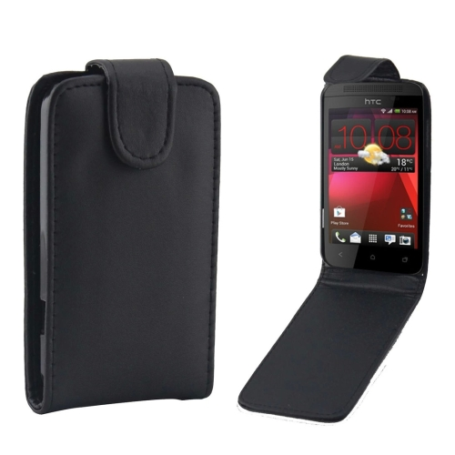 Buy For HTC Desire 200 Vertical Flip Magnetic Snap Leather Case, Black for $1.43 in SUNSKY store