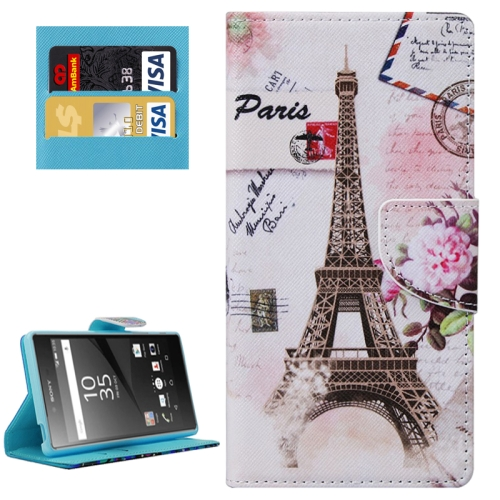 Buy Eiffel Tower Patterns Horizontal Flip Leather Case with Holder & Card Slots & Wallet for Sony Xperia Z5 for $2.29 in SUNSKY store