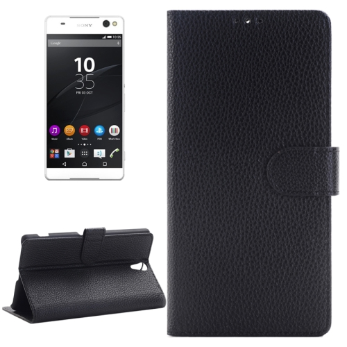 Buy Litchi Texture Horizontal Flip Solid Color Leather Case with Holder & Card Slots & Wallet for Sony Xperia C5 Ultra, Black for $2.83 in SUNSKY store