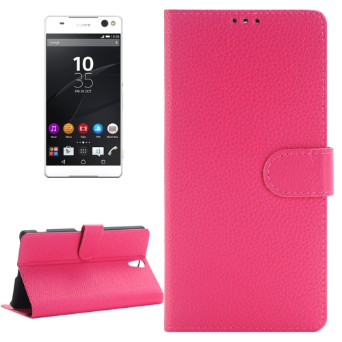 Buy Litchi Texture Horizontal Flip Solid Color Leather Case with Holder & Card Slots & Wallet for Sony Xperia C5 Ultra, Magenta for $2.83 in SUNSKY store