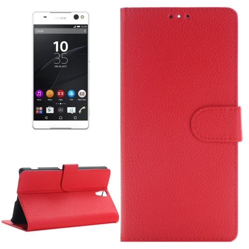 Buy Litchi Texture Horizontal Flip Solid Color Leather Case with Holder & Card Slots & Wallet for Sony Xperia C5 Ultra, Red for $2.83 in SUNSKY store