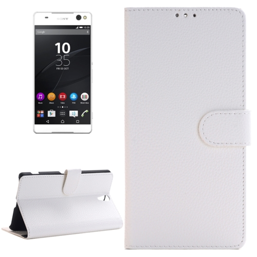 Buy Litchi Texture Horizontal Flip Solid Color Leather Case with Holder & Card Slots & Wallet for Sony Xperia C5 Ultra, White for $2.83 in SUNSKY store