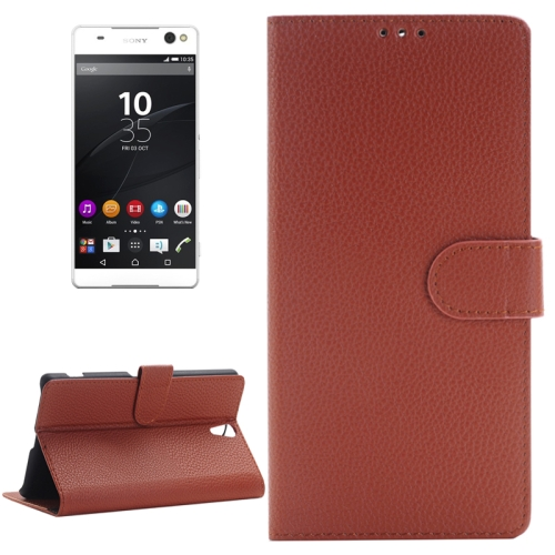 Litchi Texture Horizontal Flip Solid Color Leather Case with Holder & Card Slots & Wallet for Sony Xperia C5 Ultra, Brown