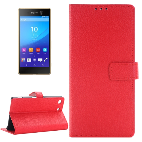 Buy Litchi Texture Horizontal Flip Solid Color Leather Case with Holder & Card Slots & Wallet for Sony Xperia M5, Red for $2.83 in SUNSKY store