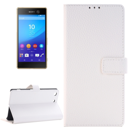 Buy Litchi Texture Horizontal Flip Solid Color Leather Case with Holder & Card Slots & Wallet for Sony Xperia M5, White for $2.83 in SUNSKY store