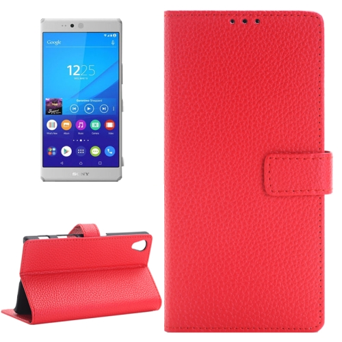 Buy Litchi Texture Horizontal Flip Solid Color Leather Case with Holder & Card Slots & Wallet for Sony Xperia Z5, Red for $2.83 in SUNSKY store