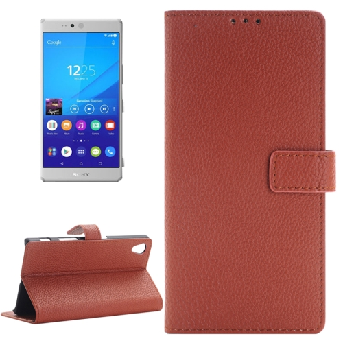 Buy Litchi Texture Horizontal Flip Solid Color Leather Case with Holder & Card Slots & Wallet for Sony Xperia Z5, Brown for $2.83 in SUNSKY store