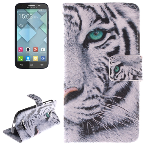 Tiger Pattern Leather Case with Holder & Card Slot & Wallet for Alcatel One Touch Pop C7