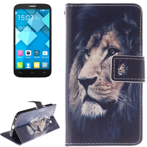 Buy Lion Pattern Leather Case with Holder & Card Slot & Wallet for Alcatel One Touch Pop C9 for $2.58 in SUNSKY store