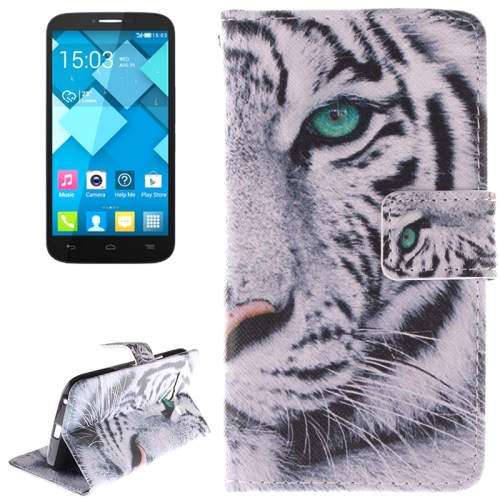 Buy Tiger Pattern Leather Case with Holder & Card Slot & Wallet for Alcatel One Touch Pop C9 for $2.58 in SUNSKY store