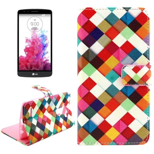 Buy Colorful Grid Pattern Cross Texture Leather Case with Holder & Card Slots & Wallet for LG G4 for $2.09 in SUNSKY store