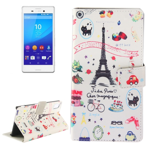 Buy Eiffel Tower Giff Pattern Horizontal Flip Magnetic Buckle Leather Case with Holder & Card Slots & Wallet for Sony Xperia M4 Aqua for $2.30 in SUNSKY store