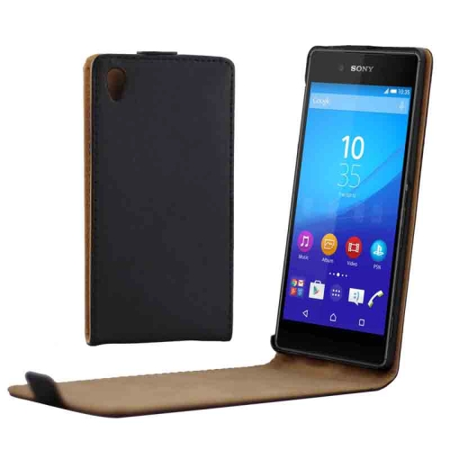 Vertical Flip Magnetic Button Leather Case for Sony Xperia Z4